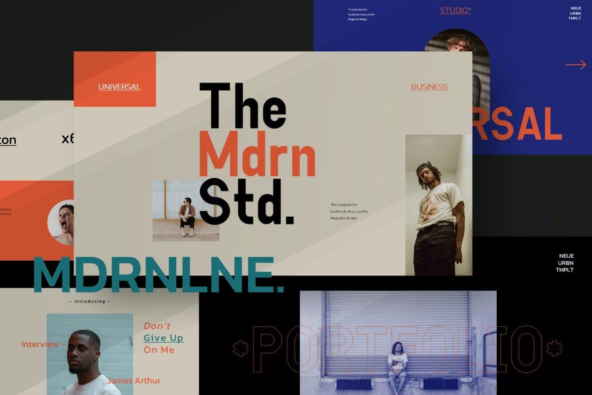时尚潮流服装摄影作品集演示文稿设计PPT模板 Modern Line Powerpoint Template插图1