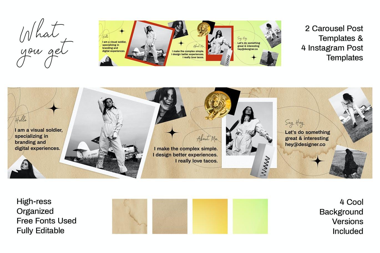 潮流复古INS风新媒体推广电商海报设计模板 Seamless Instagram Carousel插图1
