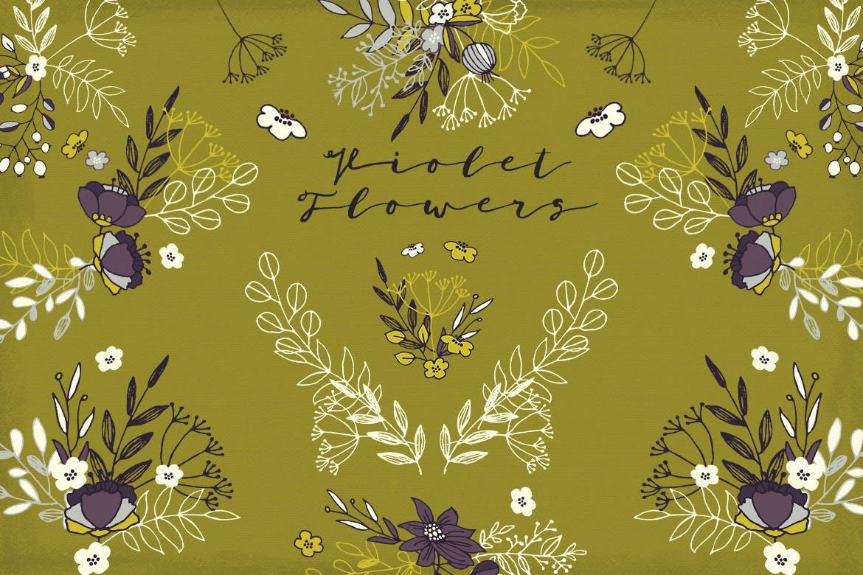 优美紫罗兰手绘插画矢量设计素材 Violet Flowers插图1