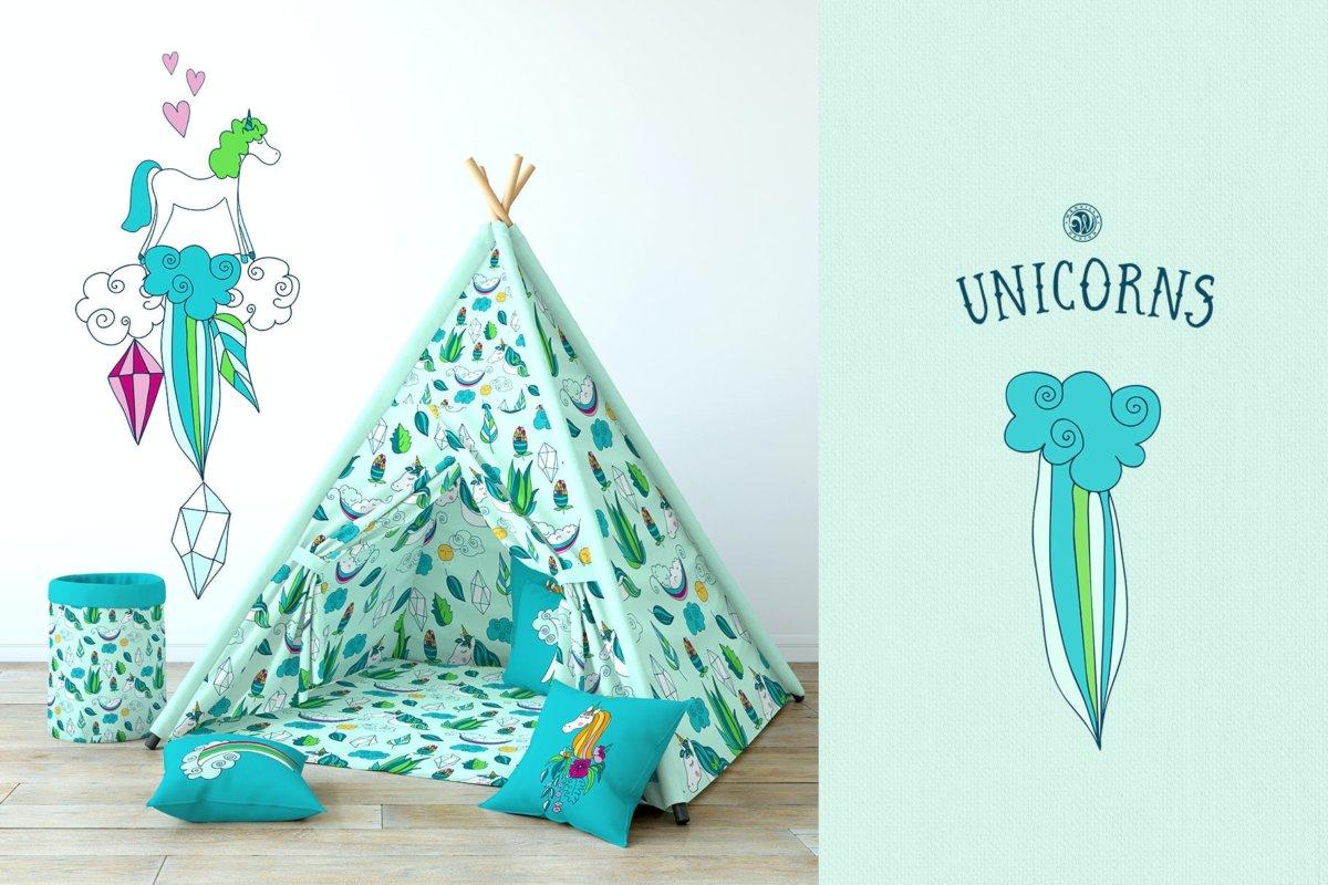 可爱卡通独角兽手绘插画矢量设计素材 Unicorns Illustrations插图1