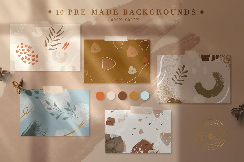 10款高清丙烯酸艺术绘画画笔纹理海报设计背景图片素材 10 Abstract Pastel Neutro Textures插图2