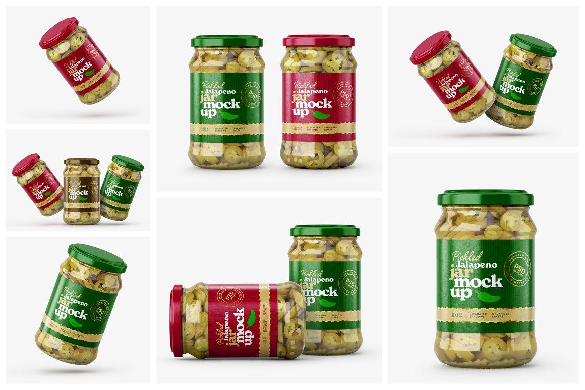 7款华丽胡椒果酱玻璃瓶标签设计展示贴图样机合集 Pickled Jalapeno Jar Mockup Set插图1