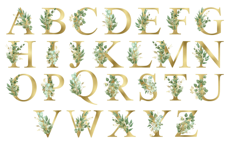 华丽金色字母树叶花卉装饰图案手绘剪贴画PNG透明图片素材 Sublimation Alphabet Gold Letters插图1
