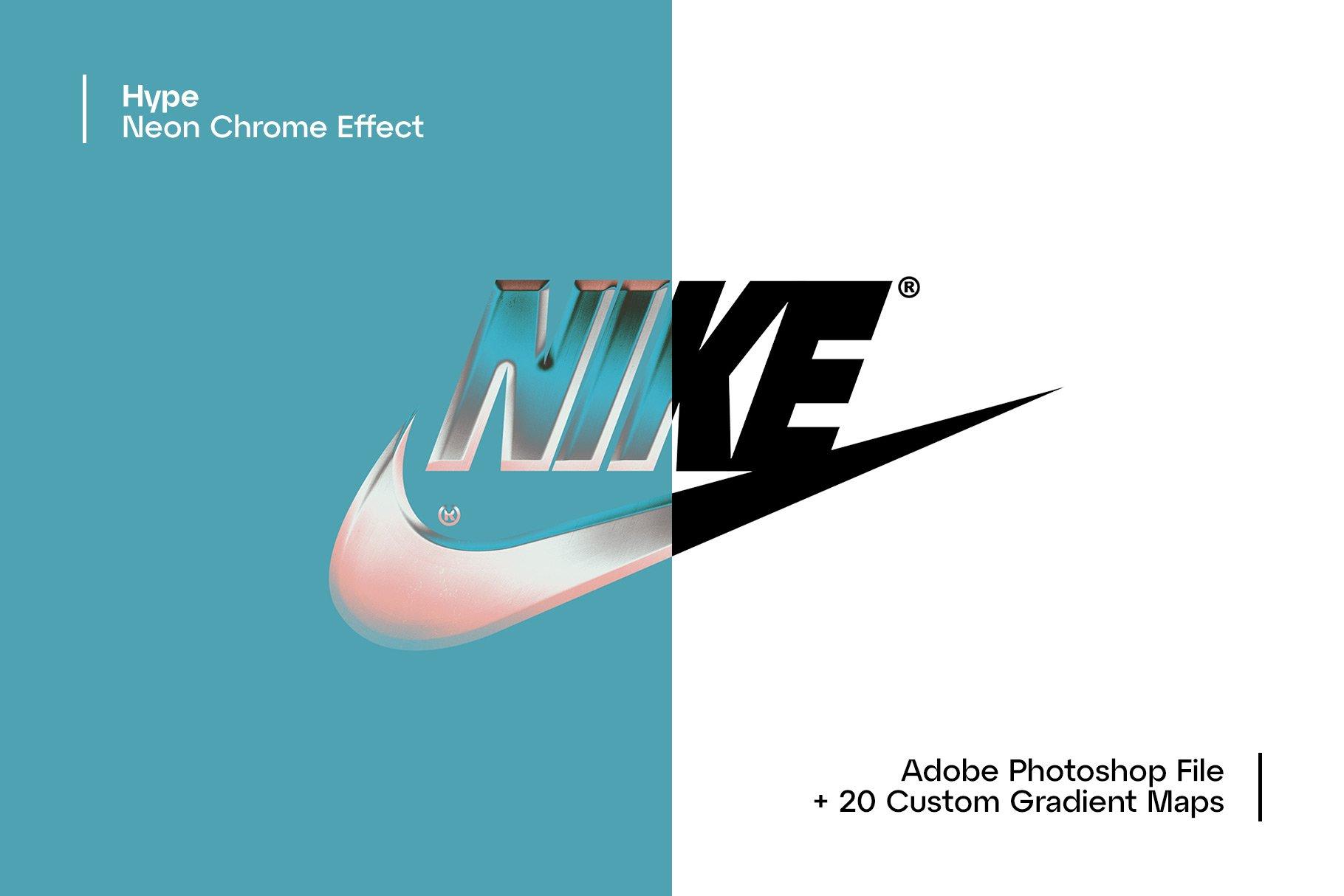 [单独购买] 潮流霓虹灯镀铬3D立体标题Logo设计样式色板预设PS素材 Hype – Neon Chrome Effect插图1