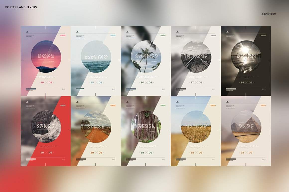 10款简约自然风景海报设计PSD模板素材 10 Minimalistic Nature Posters插图1