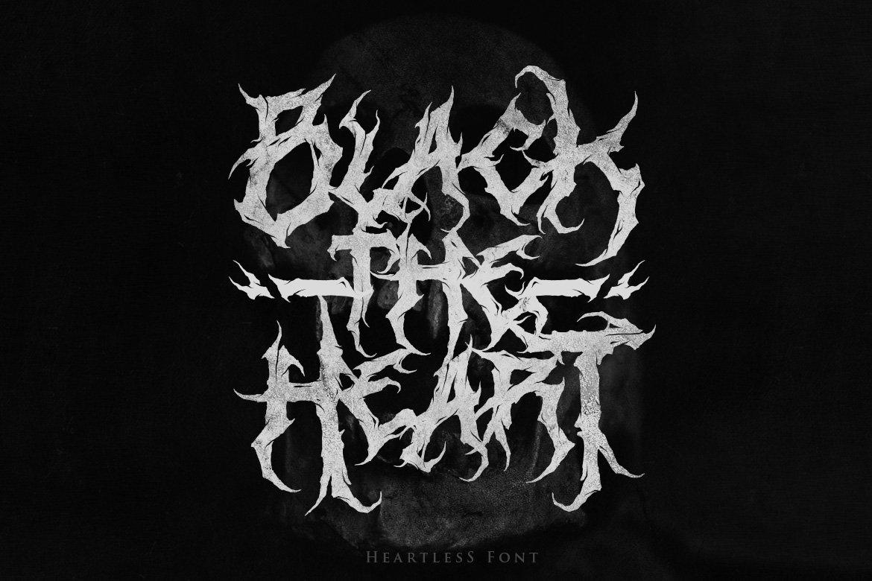 [已解锁精品素材] 潮流逆反差酸性锋利毛刺标题徽标Logo设计装饰英文字体素材 Heartless-Great Deathmetal Font插图1