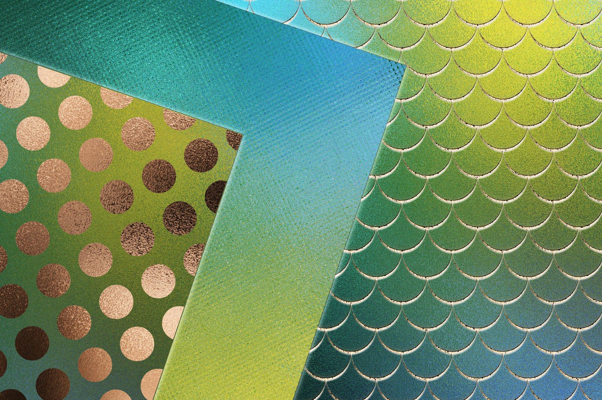 20款蓝绿色虹彩金箔纸纹理海报设计背景图片素材 Iridescent Gold Foil Textures插图1