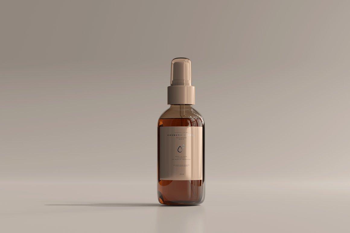 10款琥珀色玻璃化妆品喷雾瓶包装盒设计贴图样机 Amber Cosmetic Spray Bottle Mockup插图6