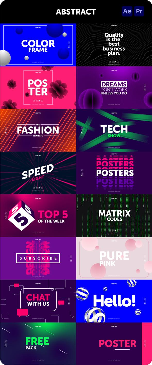 时尚潮流文字排版广告宣传海报包装动画预设AE+PR脚本素材 Videohive – Posters Pack V.7插图22