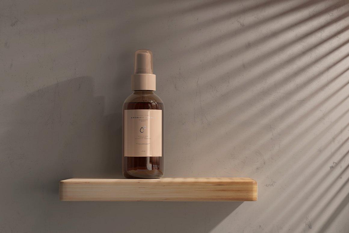 10款琥珀色玻璃化妆品喷雾瓶包装盒设计贴图样机 Amber Cosmetic Spray Bottle Mockup插图9