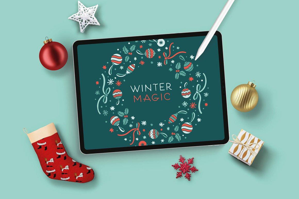 300个点状颗粒花卉动物心形艺术绘画iPad Procreate笔刷字体套装 Procreate Brushes & Font Bundle插图23