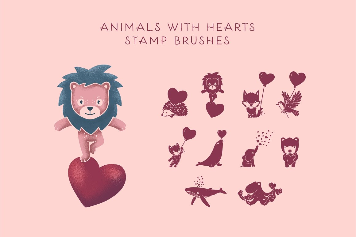 300个点状颗粒花卉动物心形艺术绘画iPad Procreate笔刷字体套装 Procreate Brushes & Font Bundle插图27
