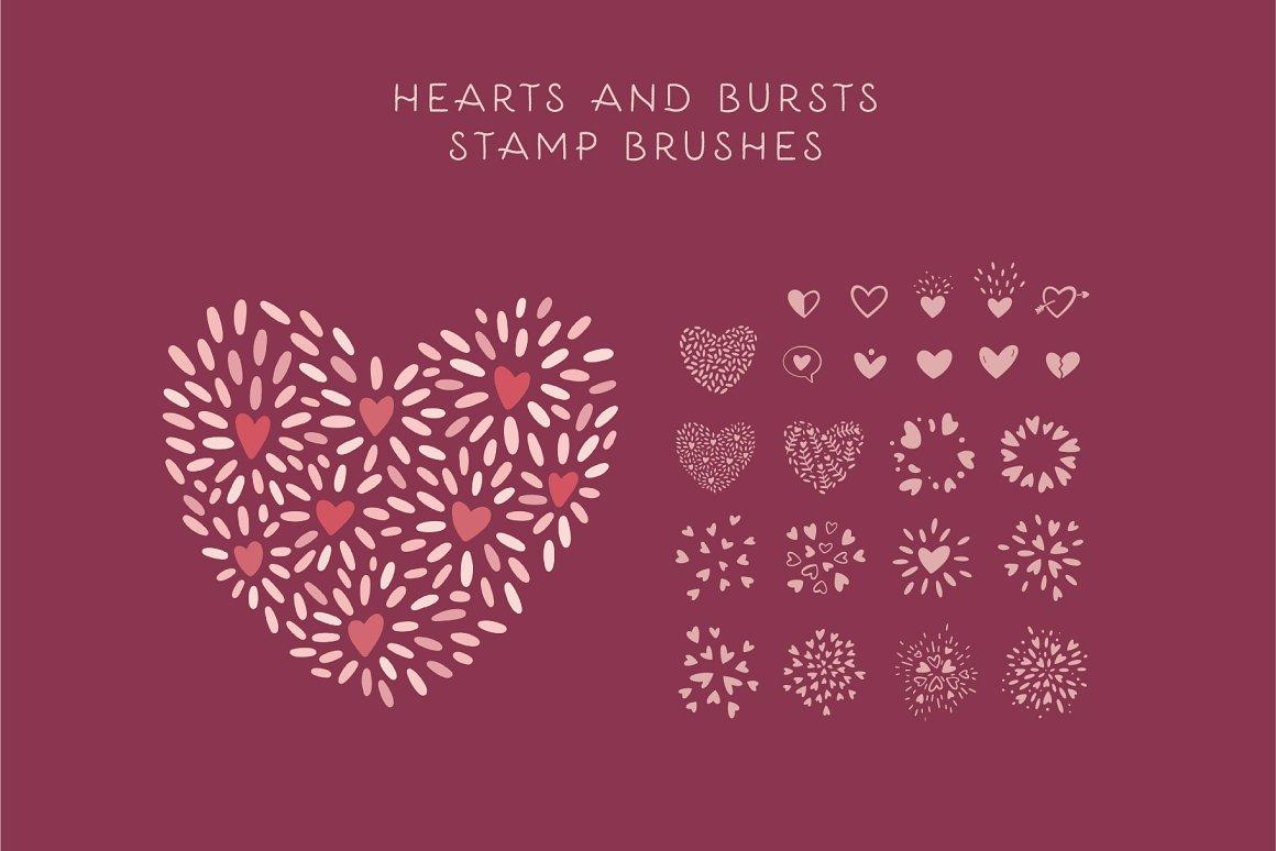 300个点状颗粒花卉动物心形艺术绘画iPad Procreate笔刷字体套装 Procreate Brushes & Font Bundle插图28