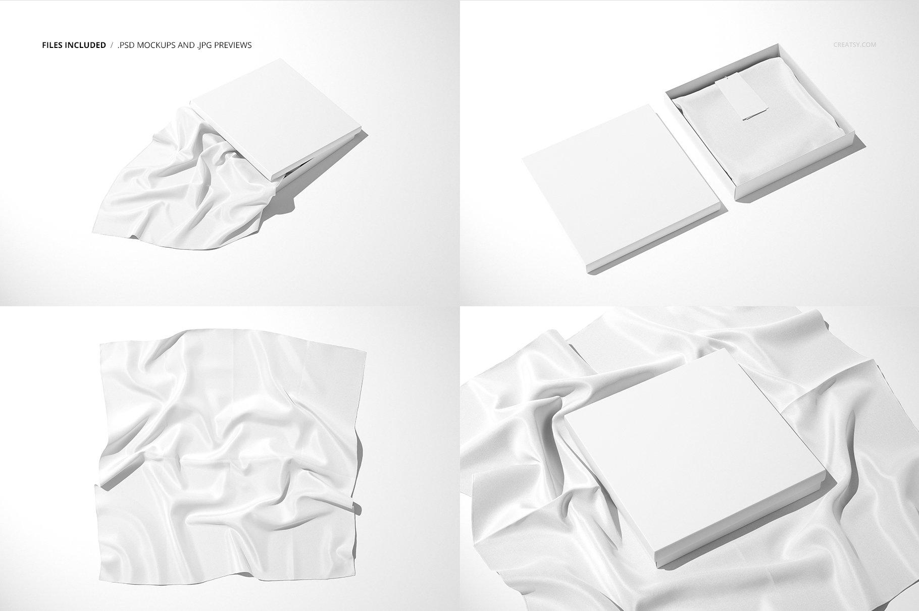 时尚真丝丝绸围巾印花图案设计展示样机 Silk Scarf Box Mockup Set 07/FFv.12插图2