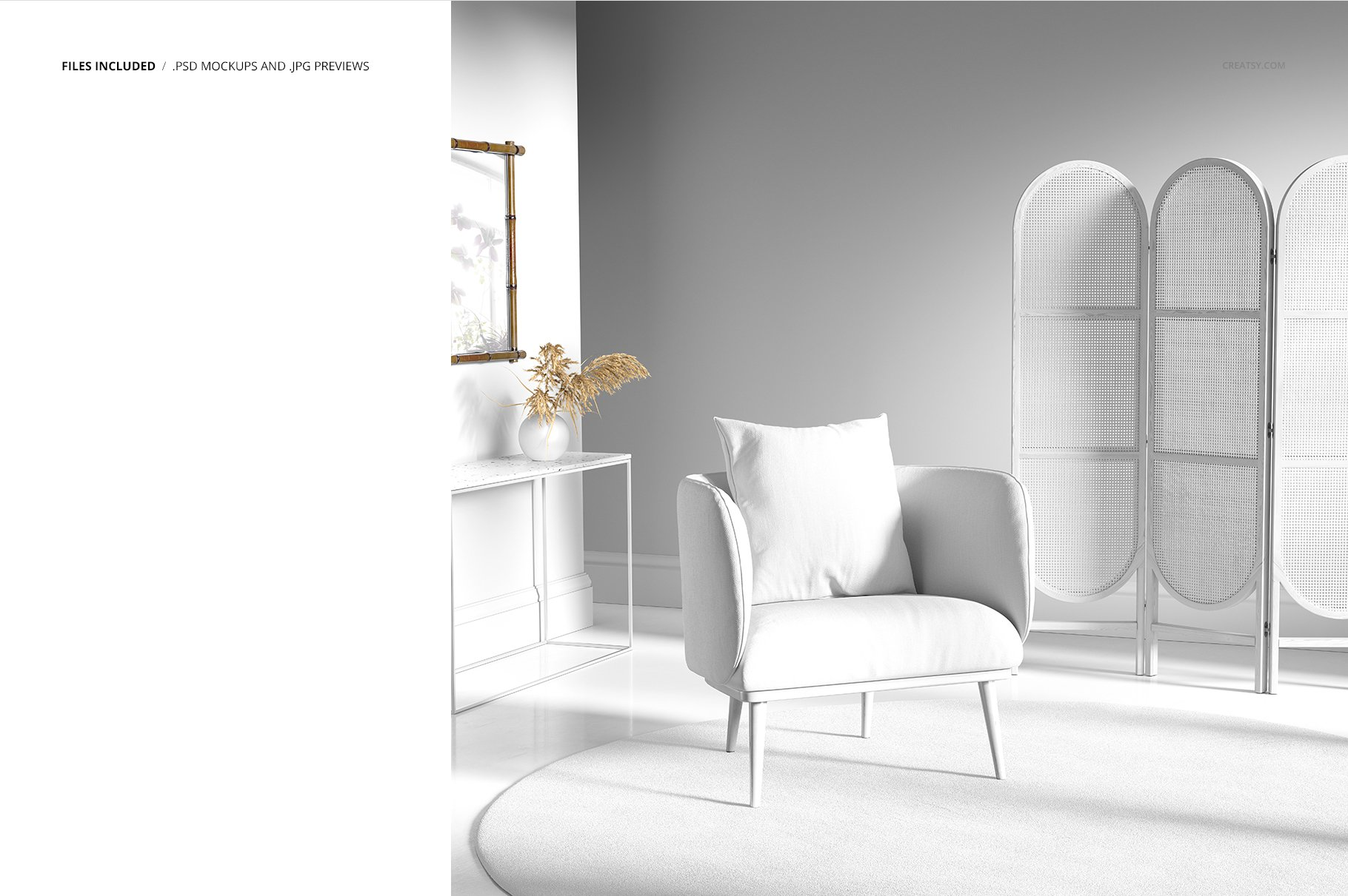 室内场景扶手椅子面料印花图案设计展示PS样机模板素材 Interior Scene Mockup (25FFv.10)插图2