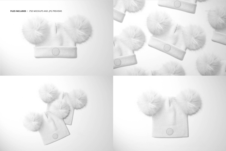 毛绒绒绒儿童毛线无檐小便帽设计展示样机集 Beanie with Fur Pompons Mockup Set插图2