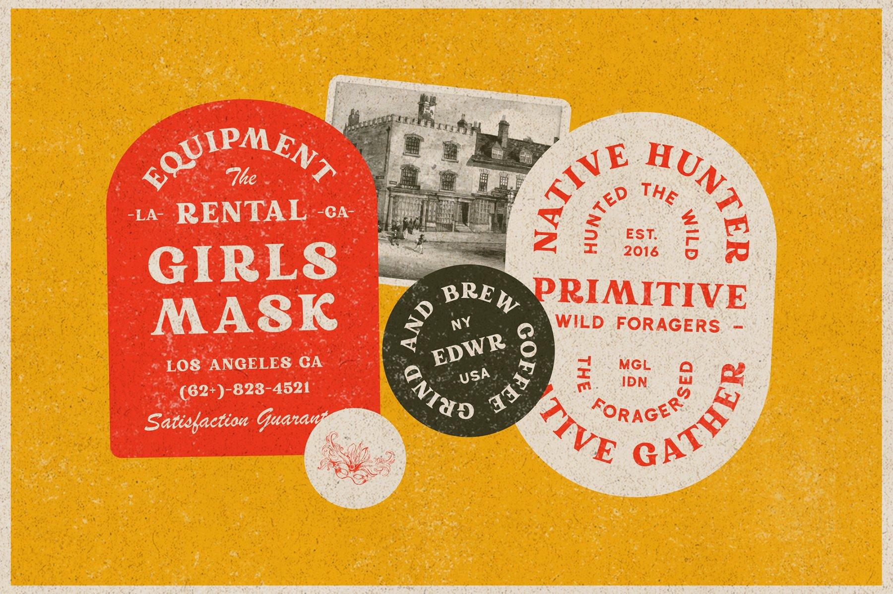 精美复古海报标题徽标Logo设计衬线英文字体素材 Rundeck – Vintage Texture Font插图2