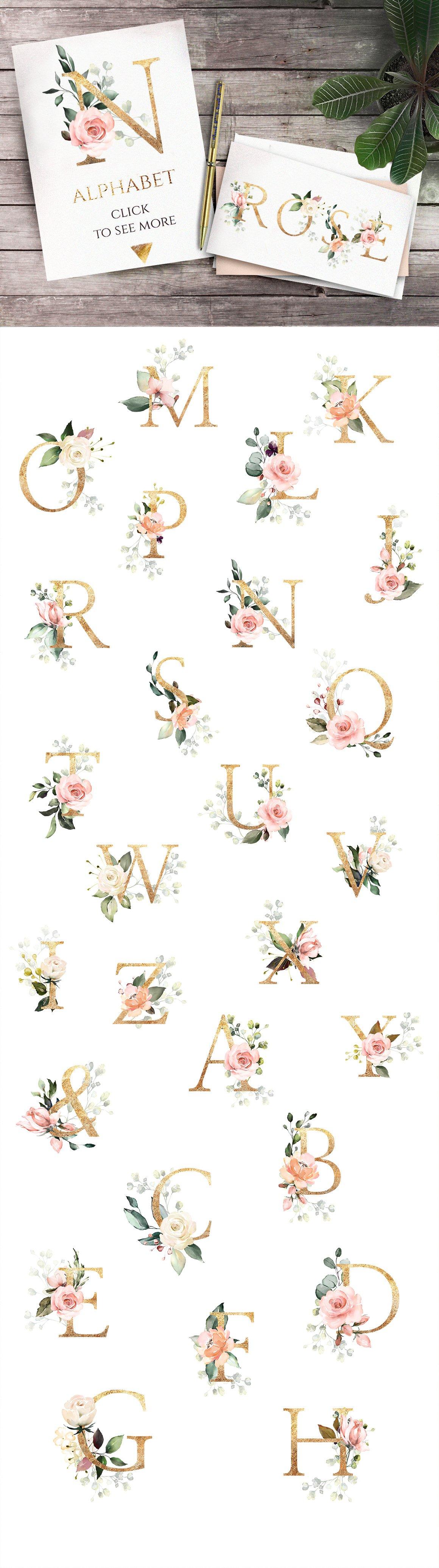 精美金色字母几何PNG透明背景图片设计素材 Floral alphabet letters. Geometrics插图1