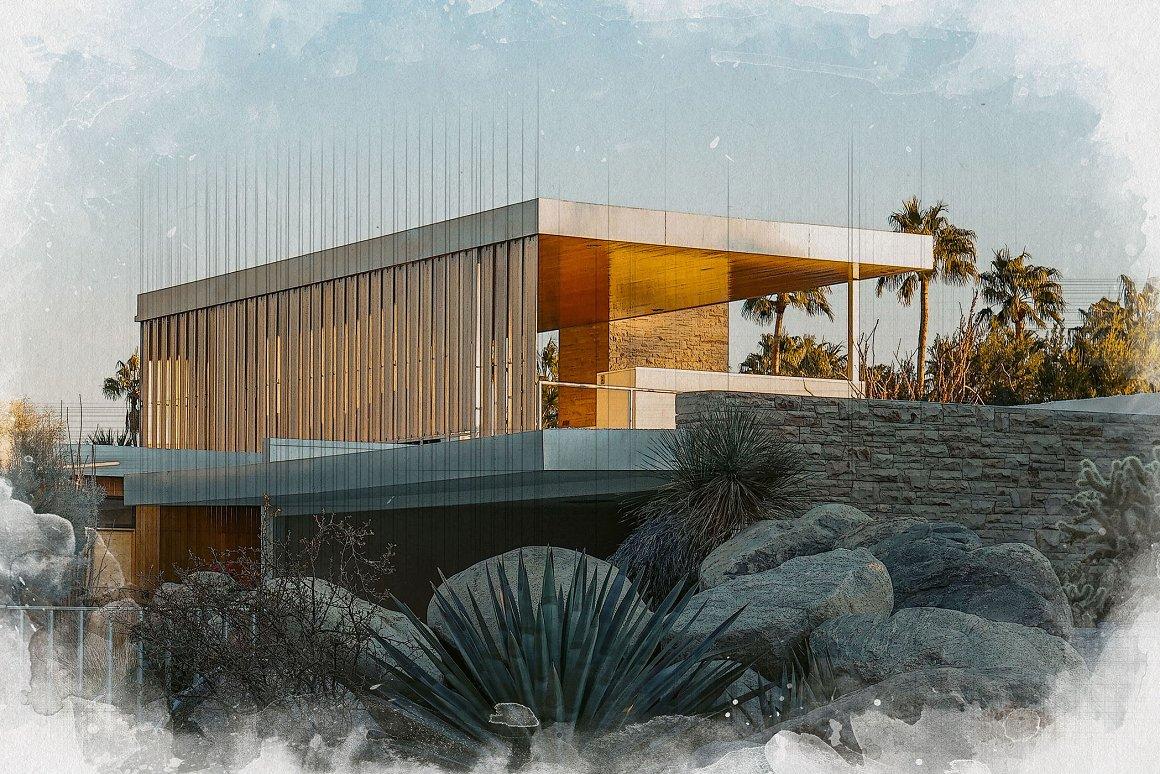 时尚建筑照片水彩混合效果PS样式模板素材 Architect Watercolor Photo Effect插图2