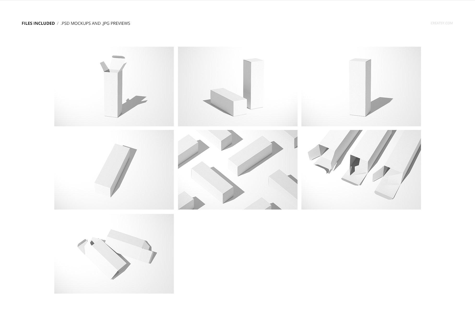 极简方形产品包装纸盒设计PS智能贴图样机合集 Tall Box Mockup Set插图2