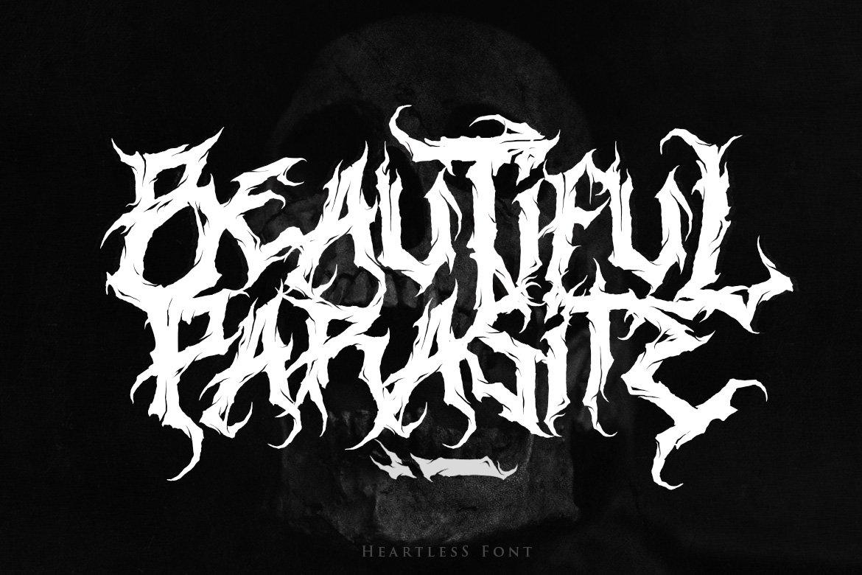 [已解锁精品素材] 潮流逆反差酸性锋利毛刺标题徽标Logo设计装饰英文字体素材 Heartless-Great Deathmetal Font插图2