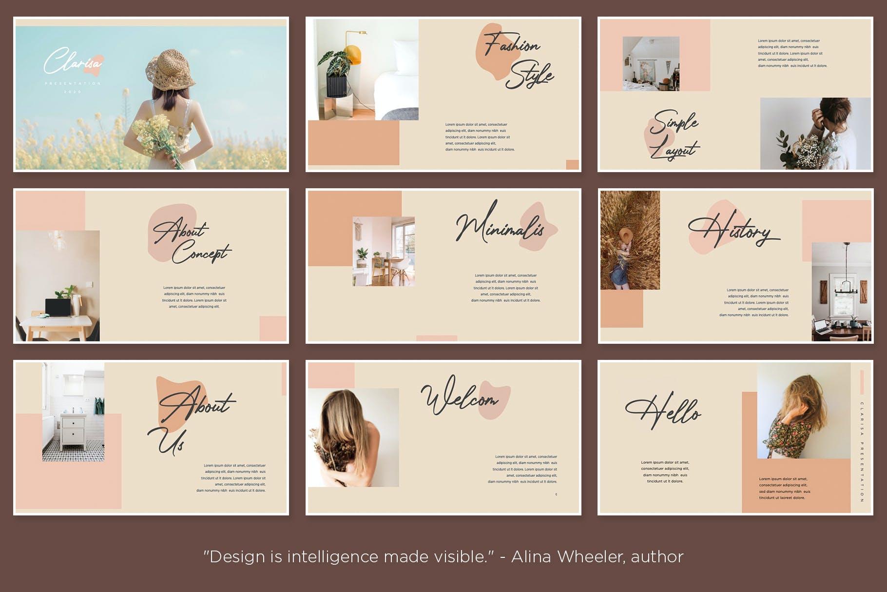 时尚优雅摄影作品集演示幻灯片设计模板 Clarisa Bundle Presentation插图2