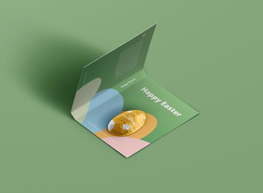 时尚带巧克力文件夹卡片设计样机素材 Easter Folder Card Mockup插图2