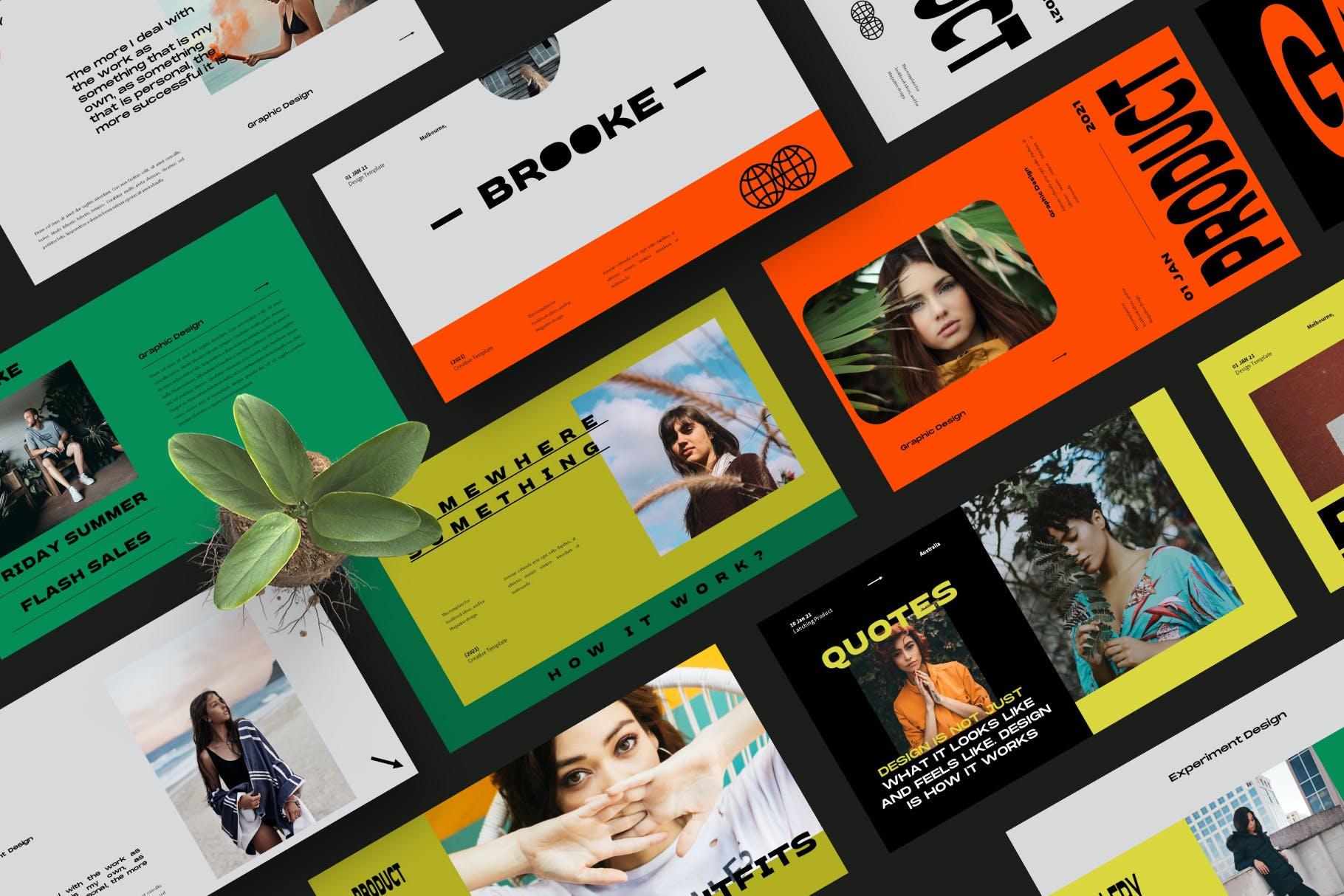 时尚潮流品牌策划案提案简报设计演示文稿模板 Brooke Powerpoint Template插图2