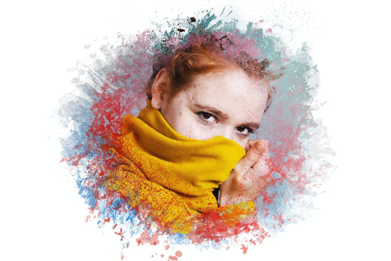 逼真油漆喷溅混合效果照片处理特效PS样式模板 Paint Splatters Photo Effect插图2