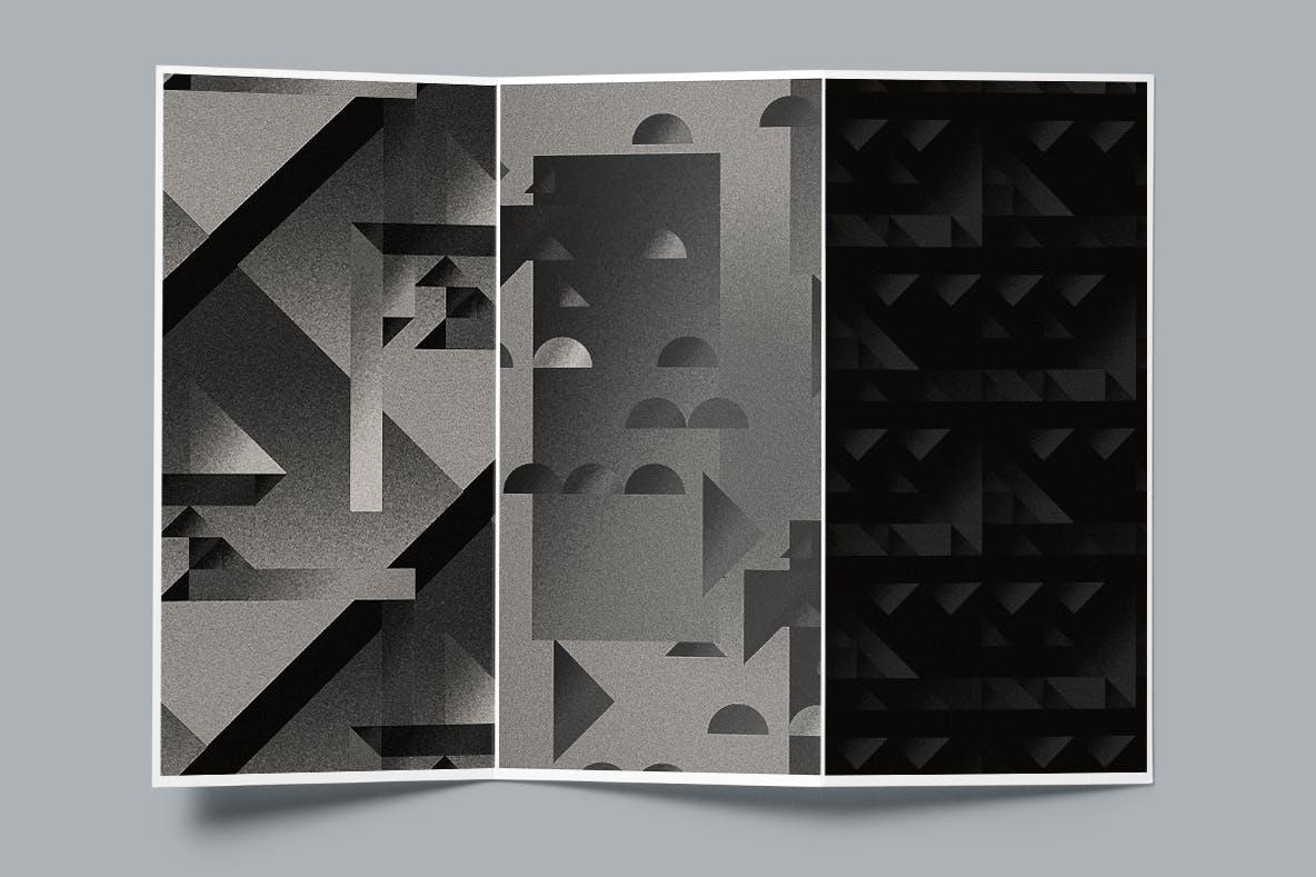 现代暗黑噪点颗粒渐变几何图形无缝隙背景图设计素材 Cubic Dark Patterns插图2