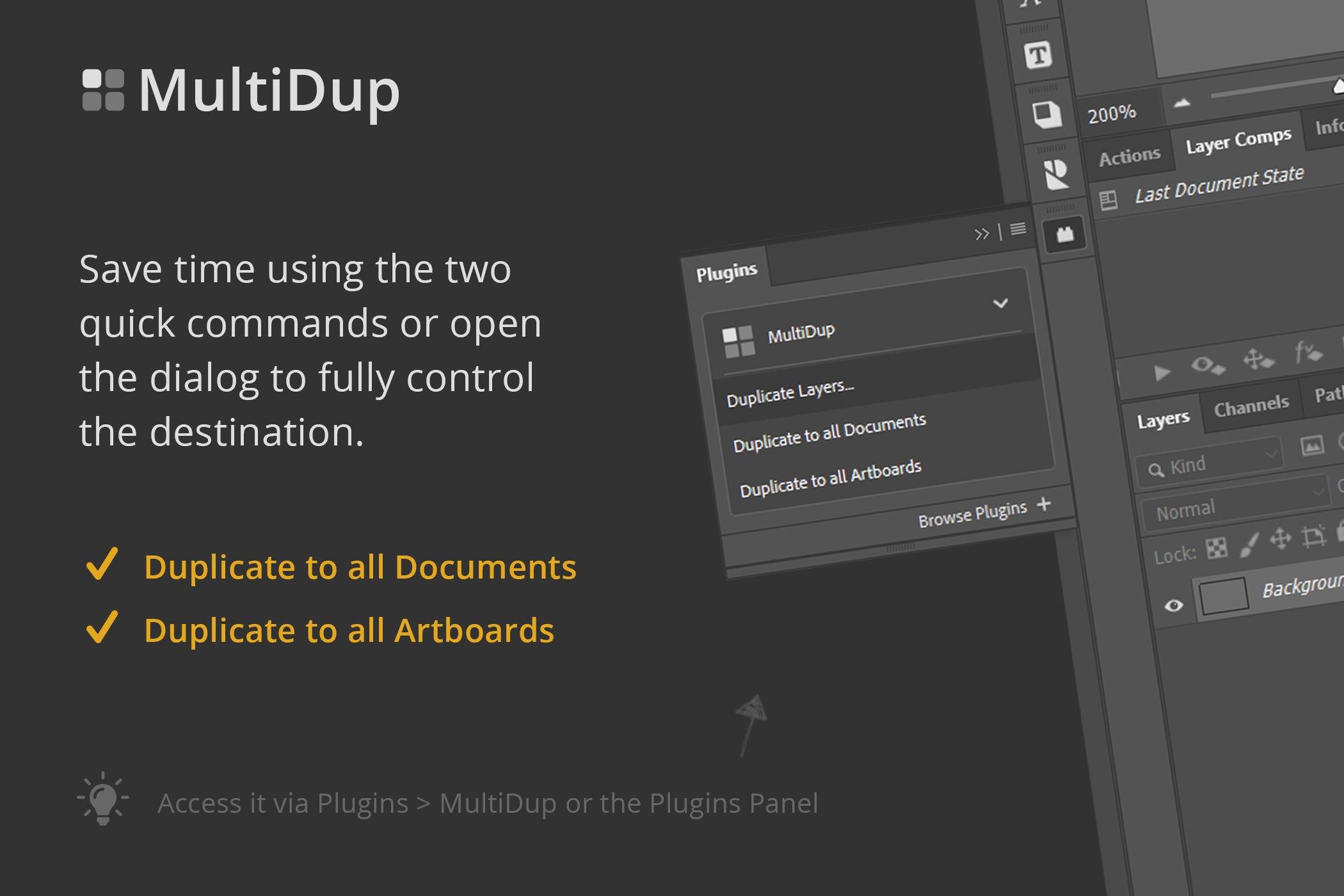 一键批量复制图层处理特效PS插件素材 MultiDup – Batch Duplication In PS插图3