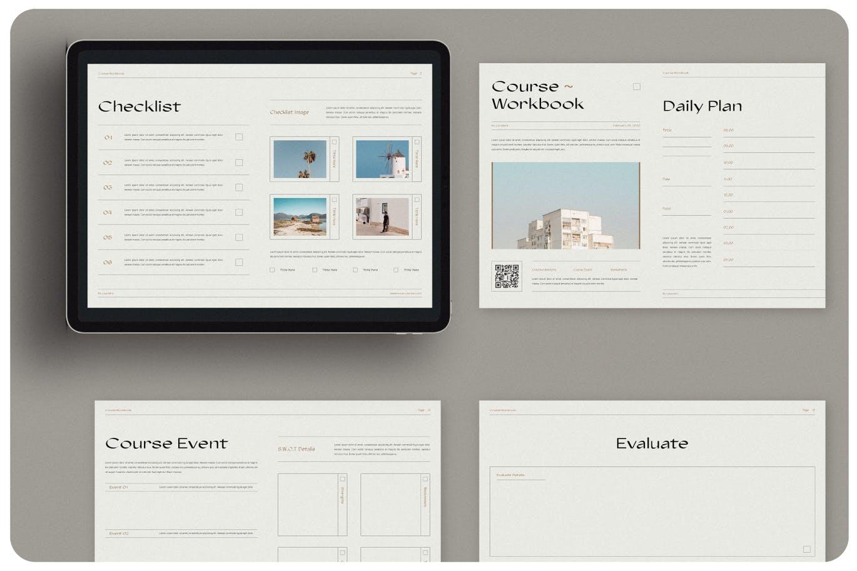 16页课程工作簿手册设计INDD模板素材 The Course Workbook  Minimal插图2