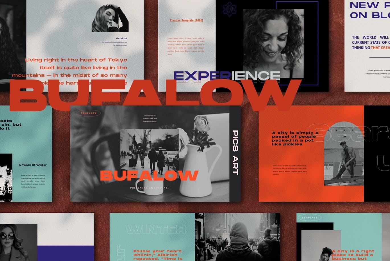 时尚摄影作品集幻灯片设计PPT模板素材 Bufalow Powerpoint Template插图2