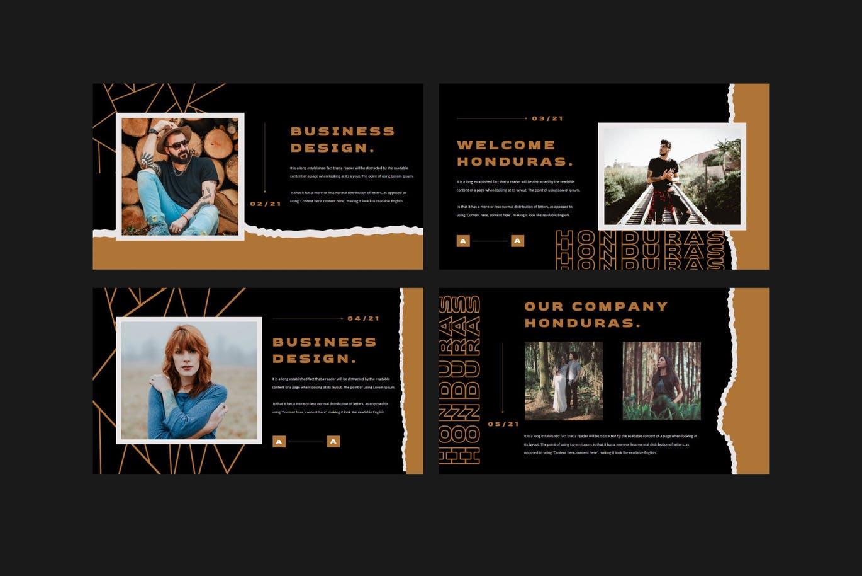 潮流撕纸效果品牌营销设计提案简报演示文稿模板素材 HONDURAS Bundle Presentation Template插图2