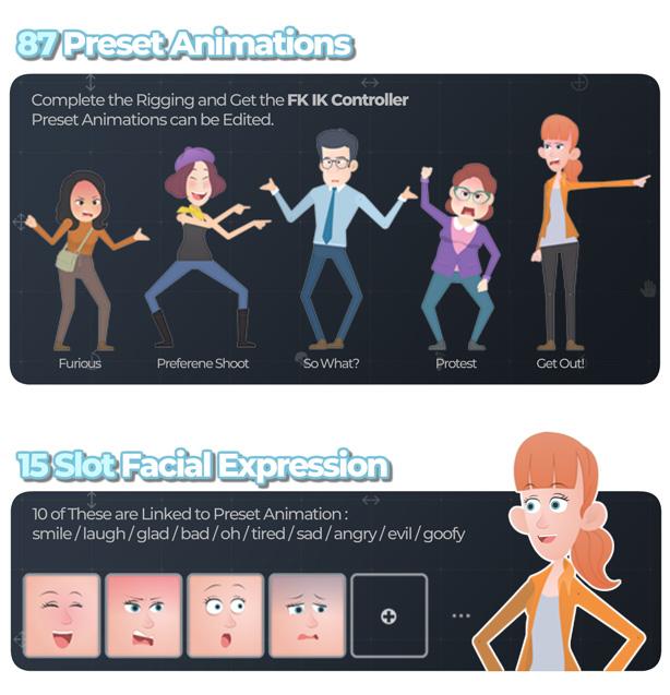 [单独购买] 潮流自定义卡通二维MG人物角色骨骼绑定Duik映射动作动画AE视频模板素材 Character Rigging Mock Up Animations插图3