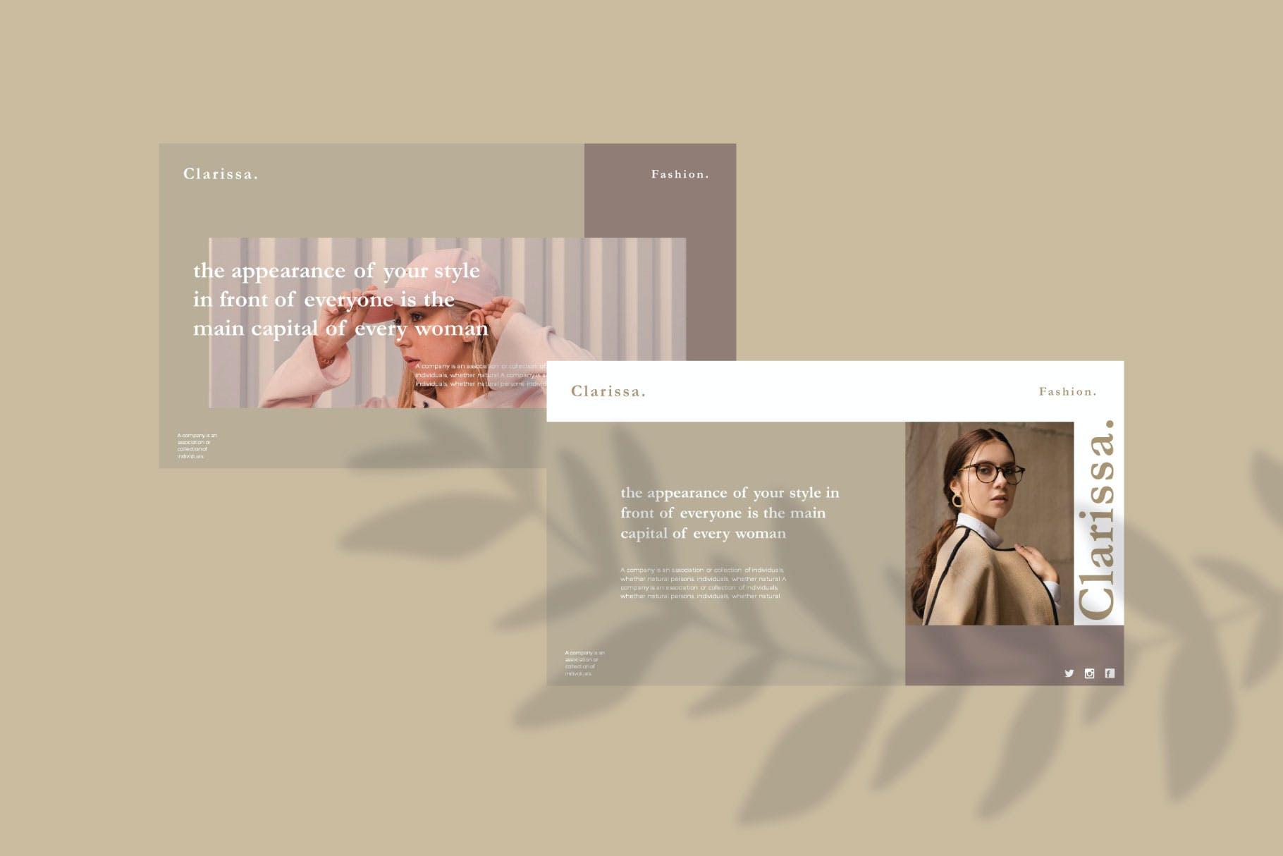 时尚简约摄影作品集图文排版幻灯片设计模板 Clarissa Bundle Presentation插图2
