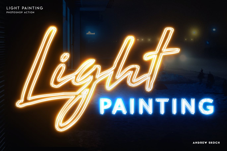 多彩霓虹灯发光效果标题Logo设计PS动作模板素材 Light Painting – Photoshop Action插图2