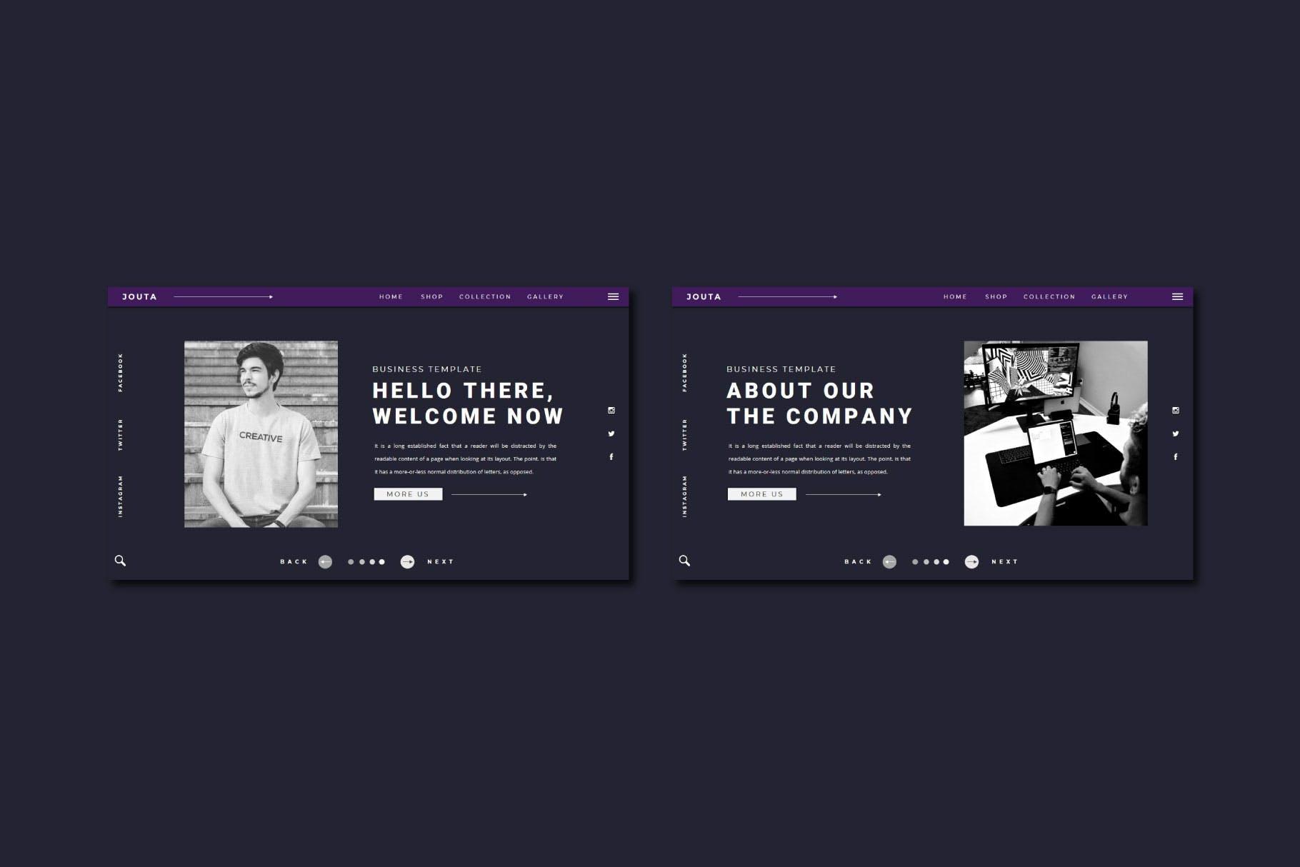 酷黑企业策划宣传演示文稿PPT设计模板 JOUTA Powerpoint Template插图2
