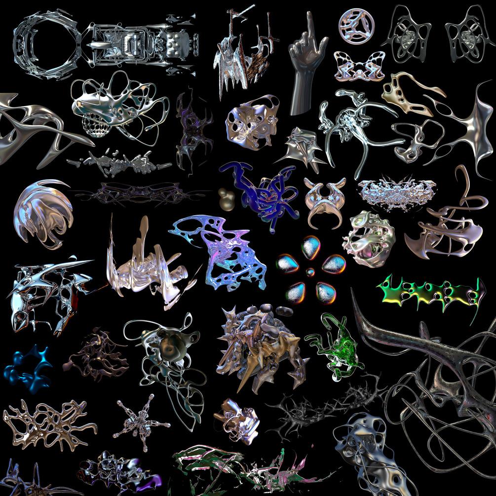 [单独购买] 50款潮流抽象金属镀铬有机形状PNG免扣图片设计素材 Edgargfx – Organic Chrome 3D插图1
