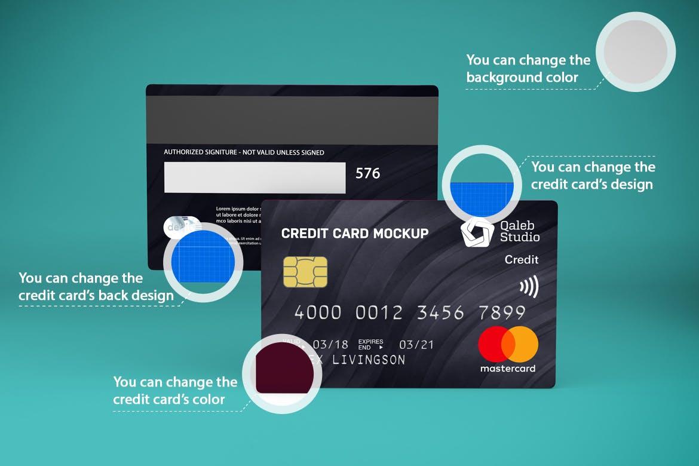 5款逼真银行信用卡卡片设计展示贴图样机素材 Credit Card V.1插图2