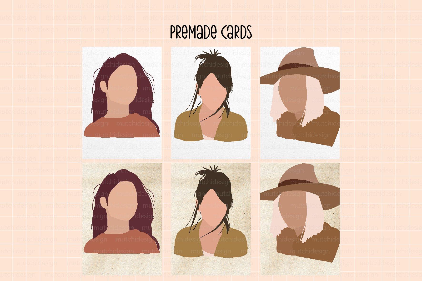 26个女性肖像树叶手绘剪贴画矢量图设计素材 Boho SVG, EPS, PNG Graphics插图2