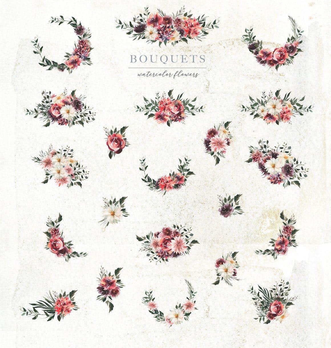 39款玫瑰花花卉手绘水彩画图片设计素材 Watercolor White & Deep Red插图2