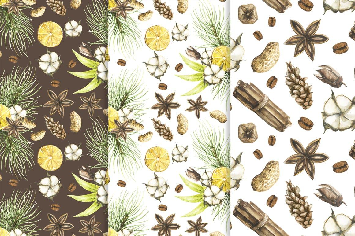 19个圣诞节主题松枝鹿角手绘剪贴画JPG图片素材 Watercolor Christmas Magic Patterns插图2