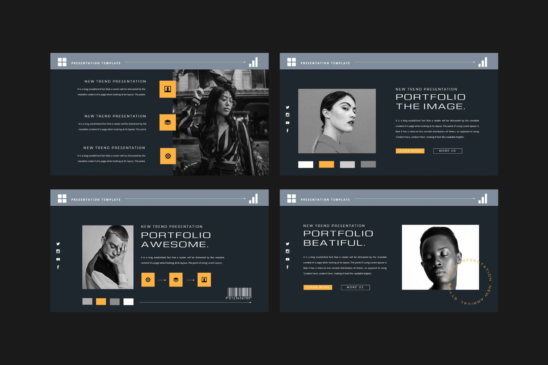 潮流品牌策划提案简报作品集设计演示文稿模板 KHADIEJA Powerpoint Template插图2