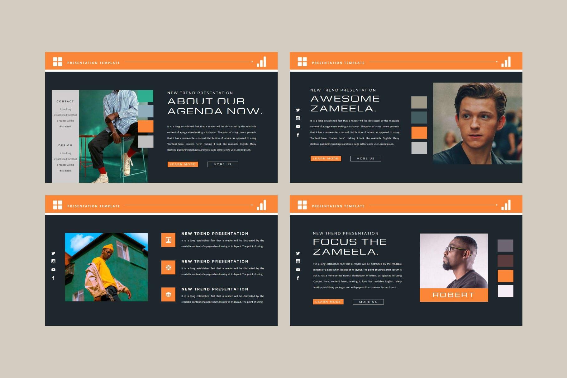 潮流品牌服装摄影作品集演示文稿设计模板 ZAMEELA Powerpoint Template插图2