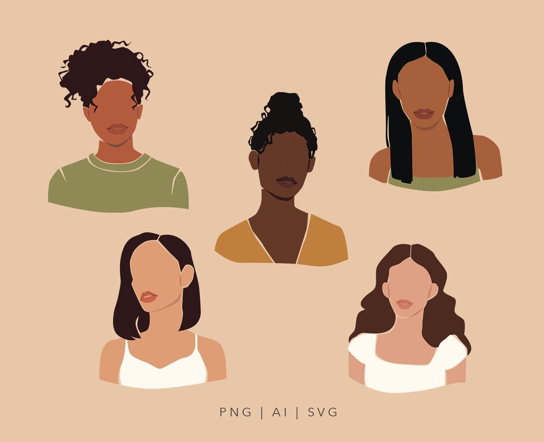 精美抽象女性脸部肖像手绘矢量图形素材 Multinational Abstract Women Portraits插图2