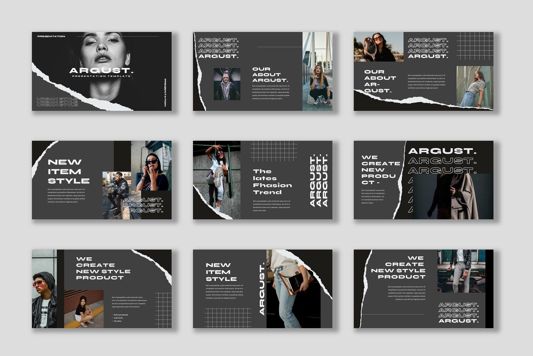潮流撕纸效果品牌策划提案简报演示文稿设计模板 Argust Powerpoint Template插图2