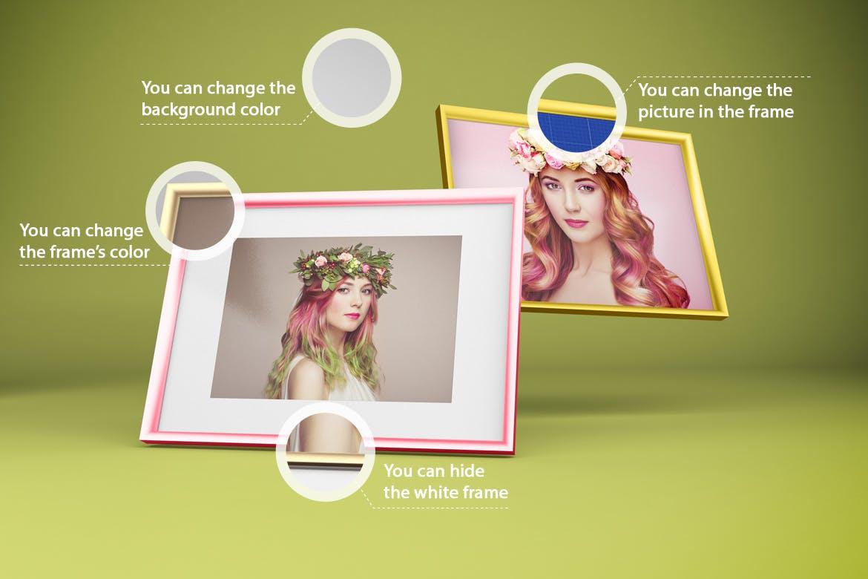多角度艺术品相片展示相框样机模板 Frame Mockup插图2