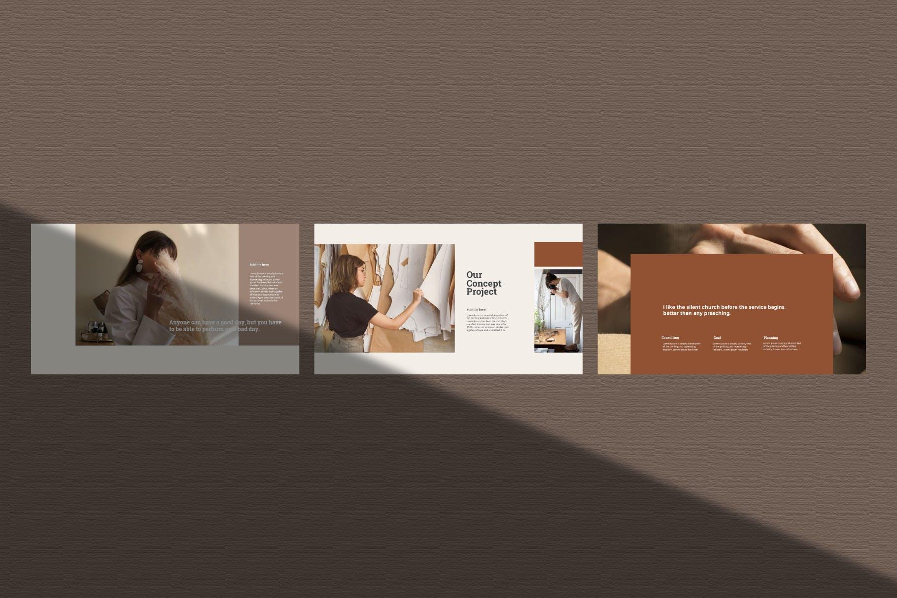 时尚奢华女性服装摄影作品集演示文稿模版 Trendhop Powerpoint Template插图2