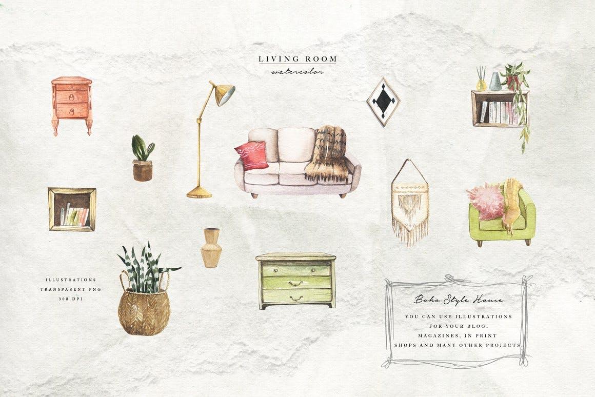 清新波西米亚风室内家具手绘水彩画PNG免抠图片素材 Watercolor Cozy Home插图2